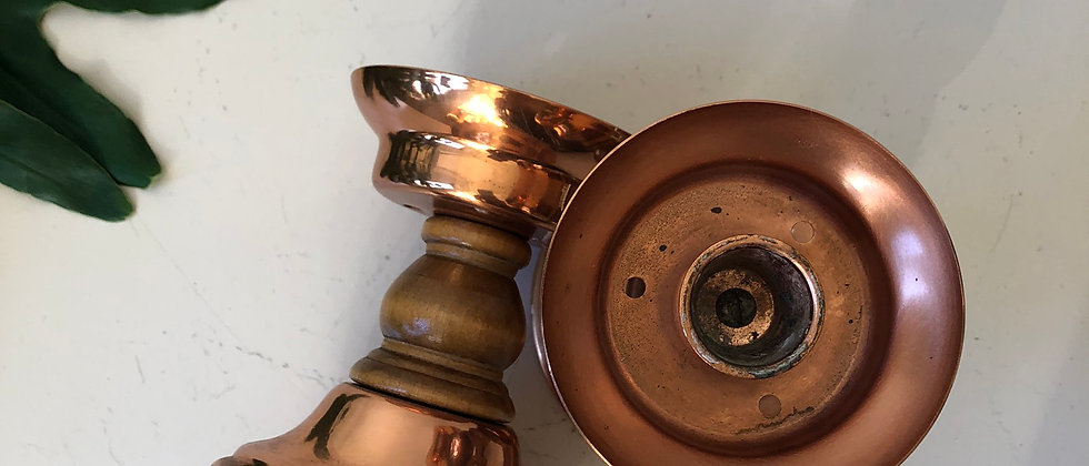 wood and copper candlestick holders