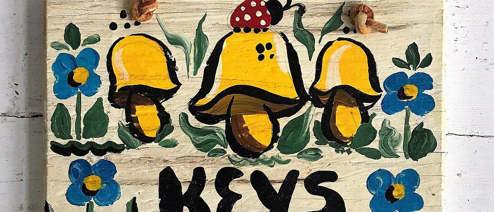 handpainted, mushroom key hook