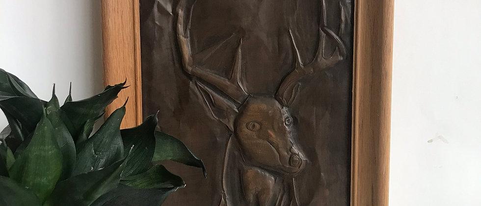 metal, handmade framed art, buck