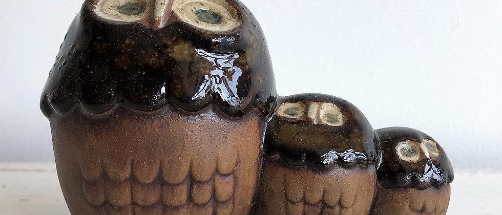 ceramic trio of owls