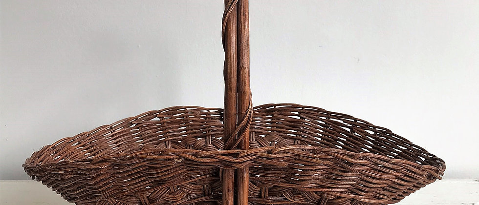 wicker basket with wooden beads