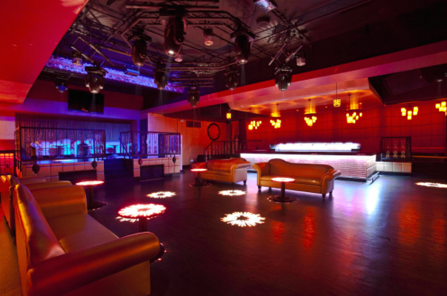 An open concept nightclub space