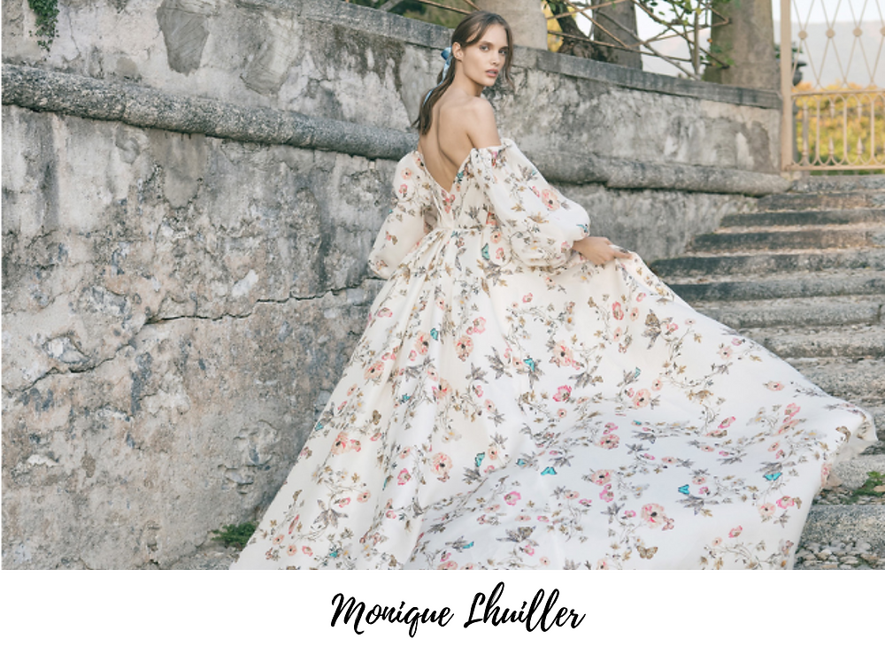 New York Bridal Fashion Week included floral print wedding dresses that are perfect for Spring and Summer 2020 weddings.
