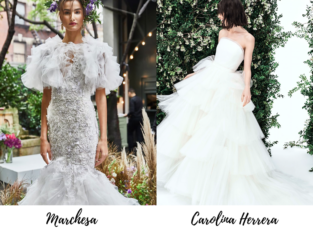 Ruffled wedding dresses are trending for 2020, as seen in New York Bridal Fashion Week.