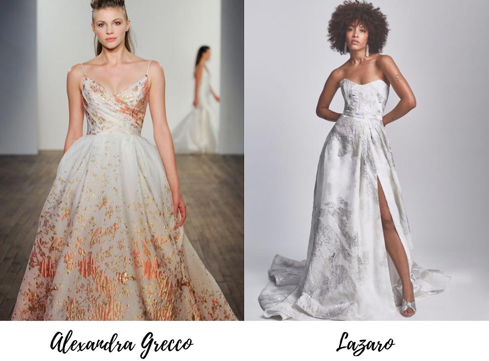 Metallic details on wedding dresses filled the runways during New York Bridal Fashion Week.
