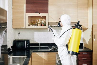 worker-in-hazmat-suit-applying-spray-on-