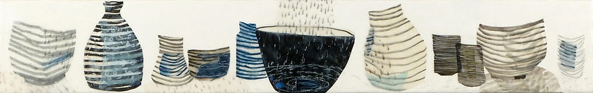 Shelf #3.JPG, arrangement of bowl and container shapes in blue black and grey using wax, paper and drawing