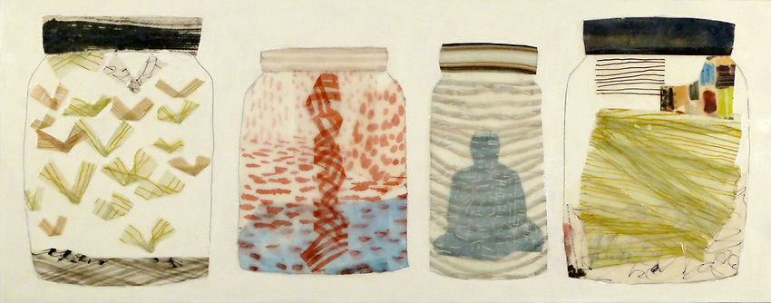 Specimens.jpg, collection of jar container images with mysterious dream content done in wax, paper and drawing
