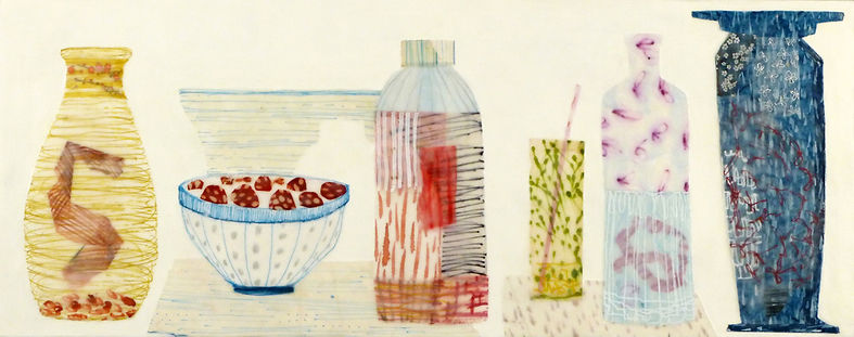 Early July.jpg, colorful collection arrangement of bottles and jars feels like summer, done in wax, paper and drawing
