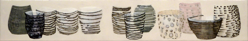 Shelf #1.jpg, arrangement of cup and bowl shapes done in wax, paper and drawing