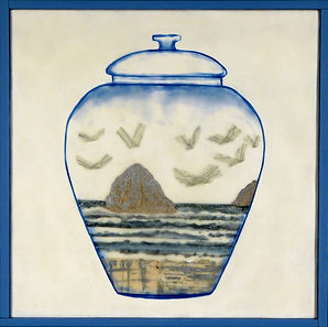 Containment Vessel.jpg, heart jar with coast landscape rocks and birds, done in wax, paper, drawing collage, blue and silver
