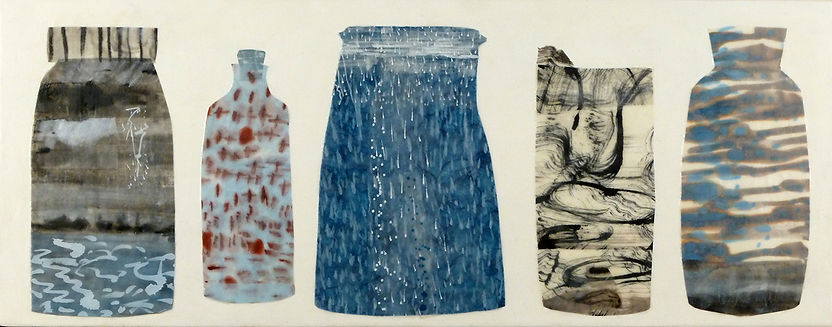 Runoff.JPG, arrangement collection of large containers with water rain imagery done in wax, paper and drawing