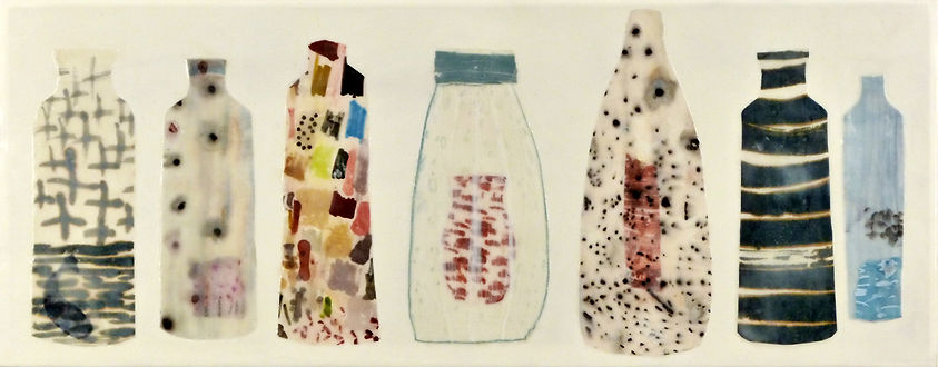 Interior Monolog.JPG, mysterious arrangement collection of bottle and jar shapes done in paper, wax and drawing