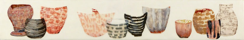 Shelf #2.JPG, colorful arrangement of cup and bowl shapes done in wax, paper and drawing