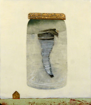 Divine Intervention.jpg, tornado in a jar, saved from destructive forces, done in wax, paper, drawing collage with gold leaf
