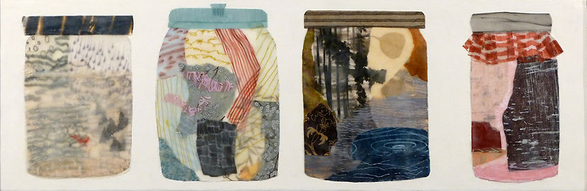 Conditions Remain Variable.jpg, collection of jars with mysterious landscape interiors done in wax, paper and drawing