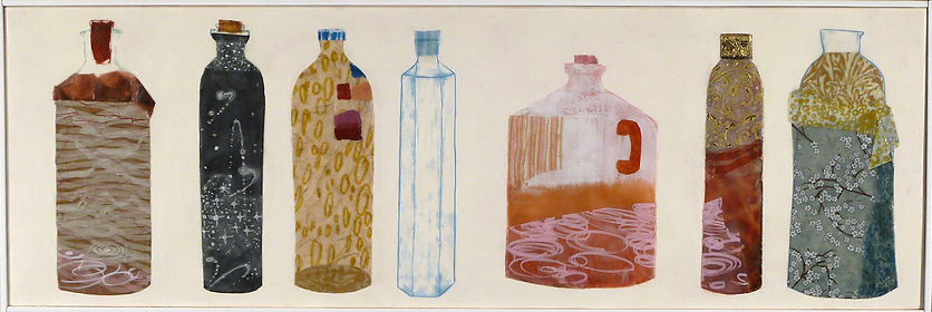 Spirits.jpg, mysterious collection of bottles, colorful interiors done in wax, paper and drawing.