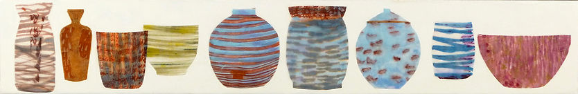 Shelf #5.JPG, collection arrangement of container shapes using wax, paper and drawing in blues, reds, orange, pink