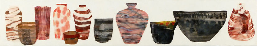Shelf #4.JPG, beautiful arrangement of container shapes using wax, paper and drawing in pinks, browns, black, salmon, red