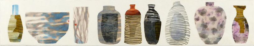 Shelf #7.JPG, mysterious beautiful collection arragnement of container vase shapes done in wax, paper and drawing