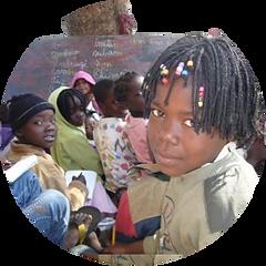 Mani Unite. Bambini africana scuola.