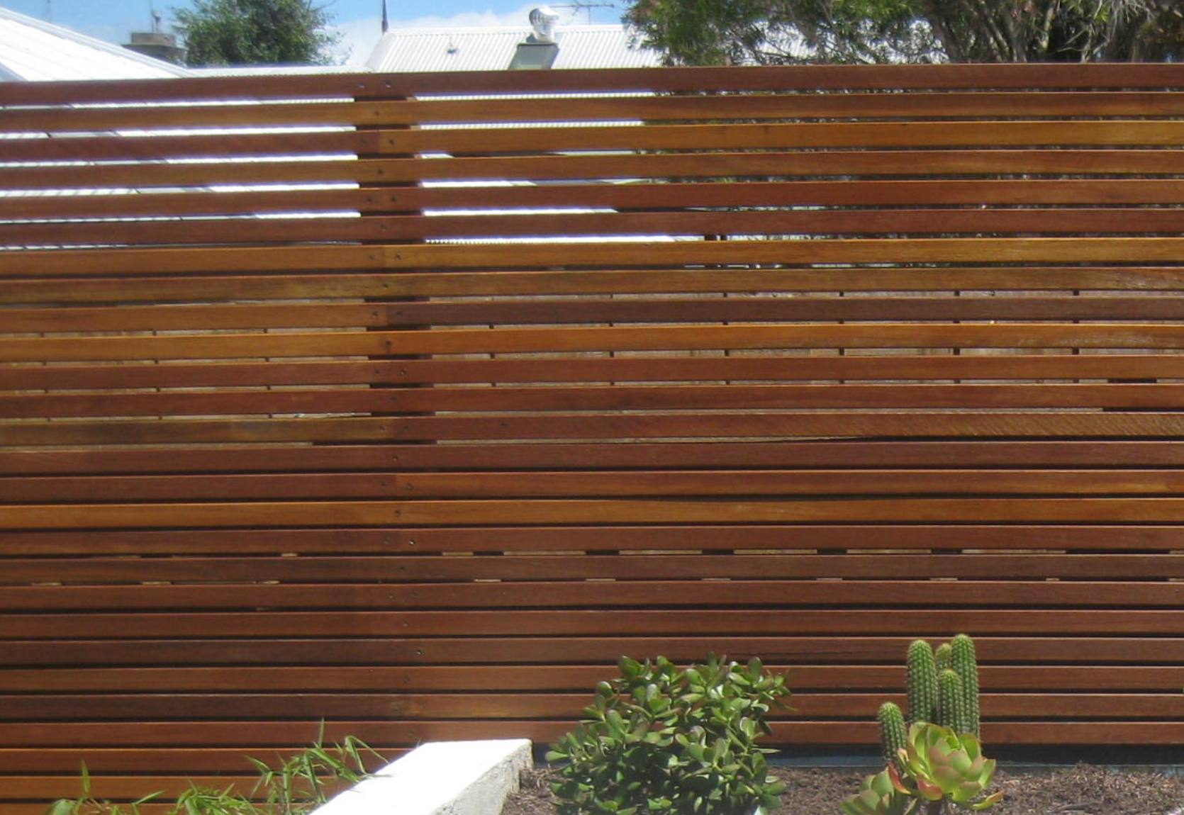 Thin Timber Slat Privacy Screen