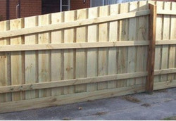 raked timber fence