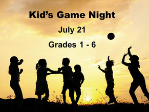 Upcoming Kid's Game Night