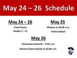 Schedule for the last week of School