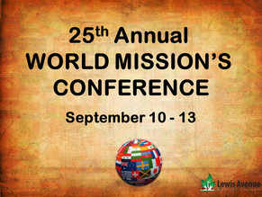 Plan on attending our Mission's Conference