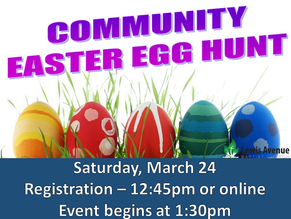 Free Community Easter Egg Hunt (grades 6th and lower)