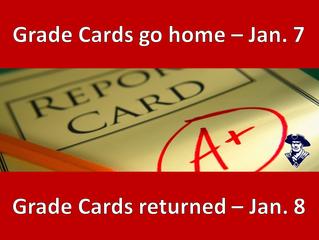 1st Semester Grade Cards