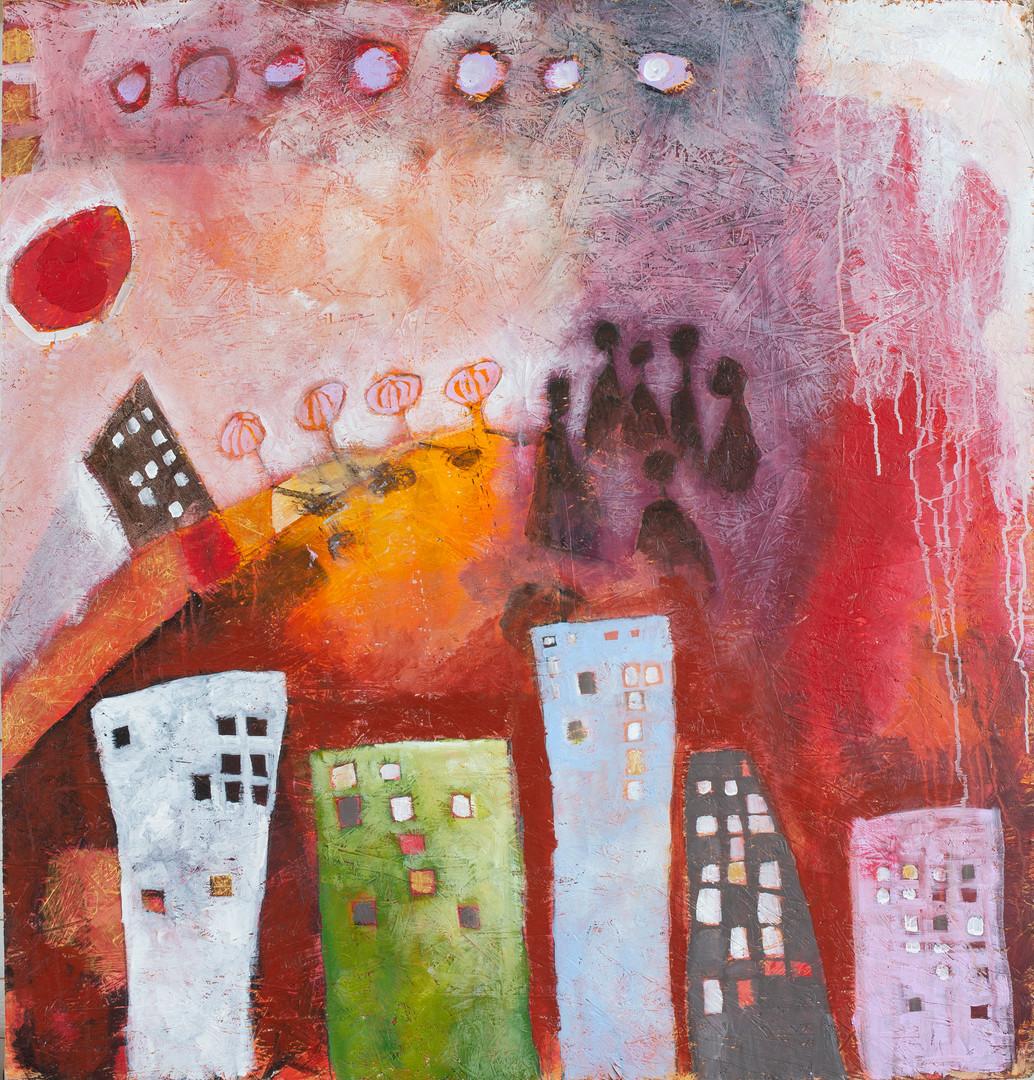 """""""Dystopia"""" Akryl på OSB Board 120x100 cm"""