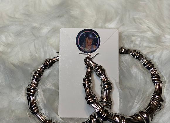 Bamboo Earrings (Silver Circle)