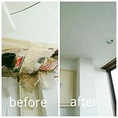 雨漏りで落ちてしまった天井をボードから補修し、その部分だけクロスを貼り換えました。