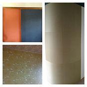 左上:建具を左右違う色のクロスを貼りました(栃木県鹿沼市) 右:円柱の壁に畳に似た床材を貼りました(栃木県宇都宮市) 左下:大柄は花柄を壁一面に貼りました(栃木県宇都宮市)