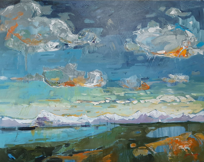 multicoloured painting titled skies above rundle by artist gail johnson