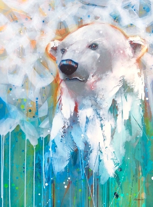 multi-coloured painting titled snow spirit by artist fran alexander