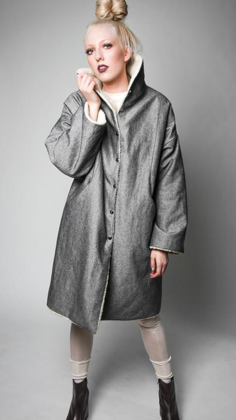 Denim hemp/organic cotton reversible coat