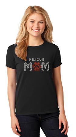 Rescue Mom Rhinestone Tee