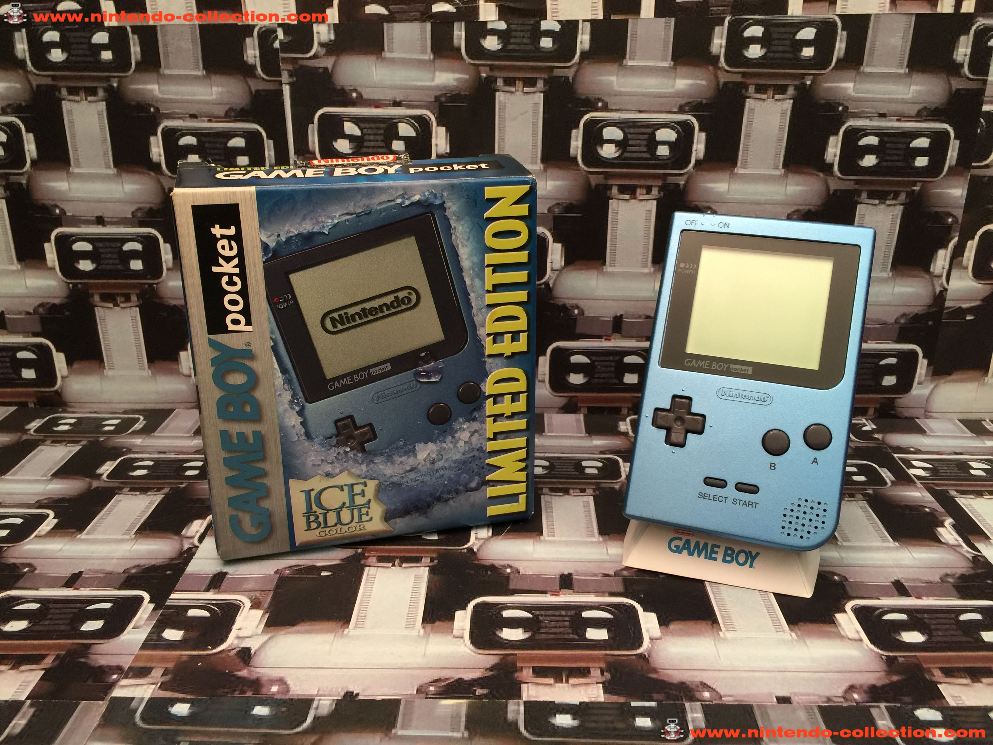 www.nintendo-collection.com - Gameboy GB Pocket Ice Blue Bleu Surf Blue en boite in box US American