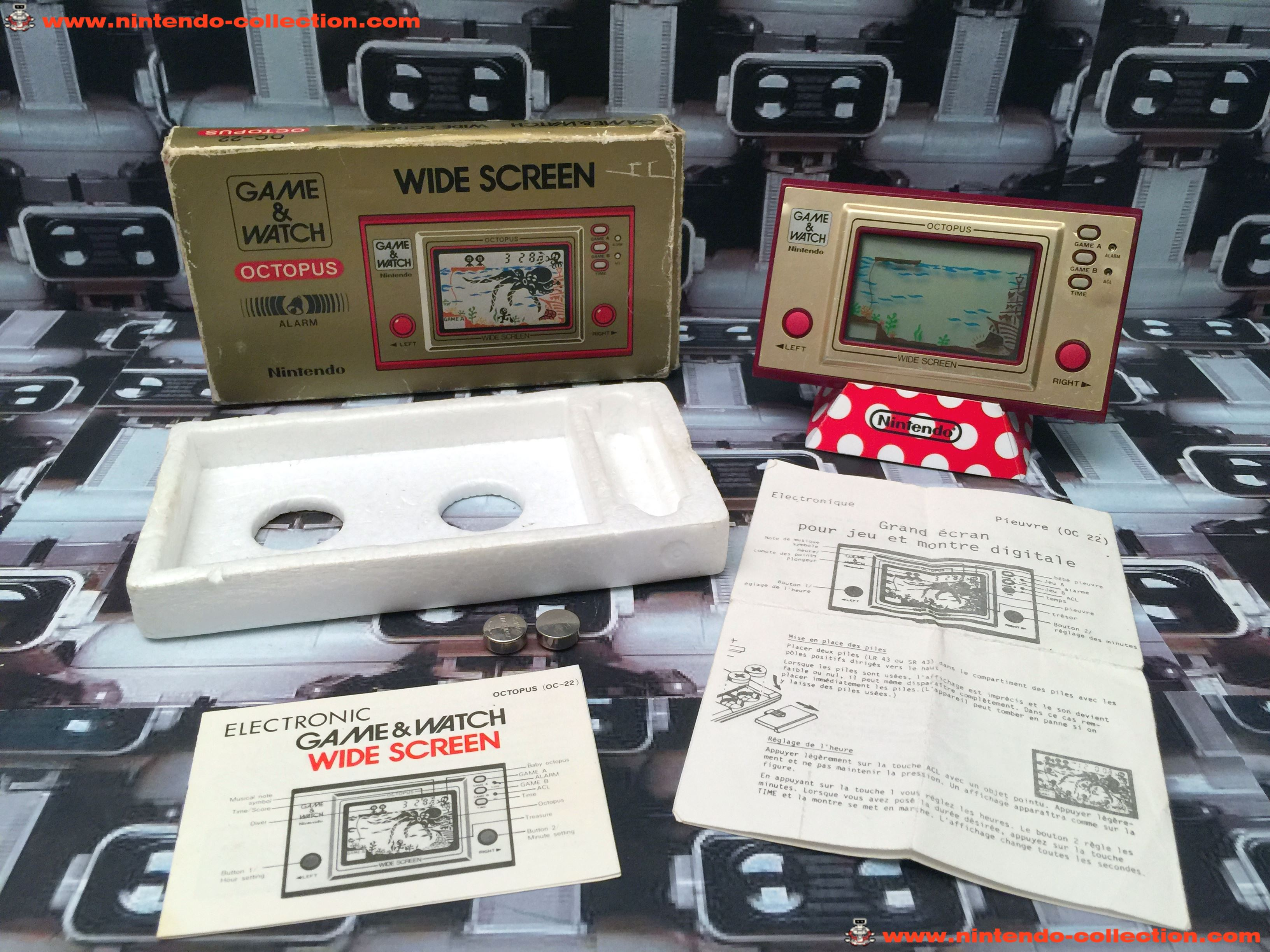 www.nintendo-collection.com - Game & Watch Wide Screen Octopus in box en boite