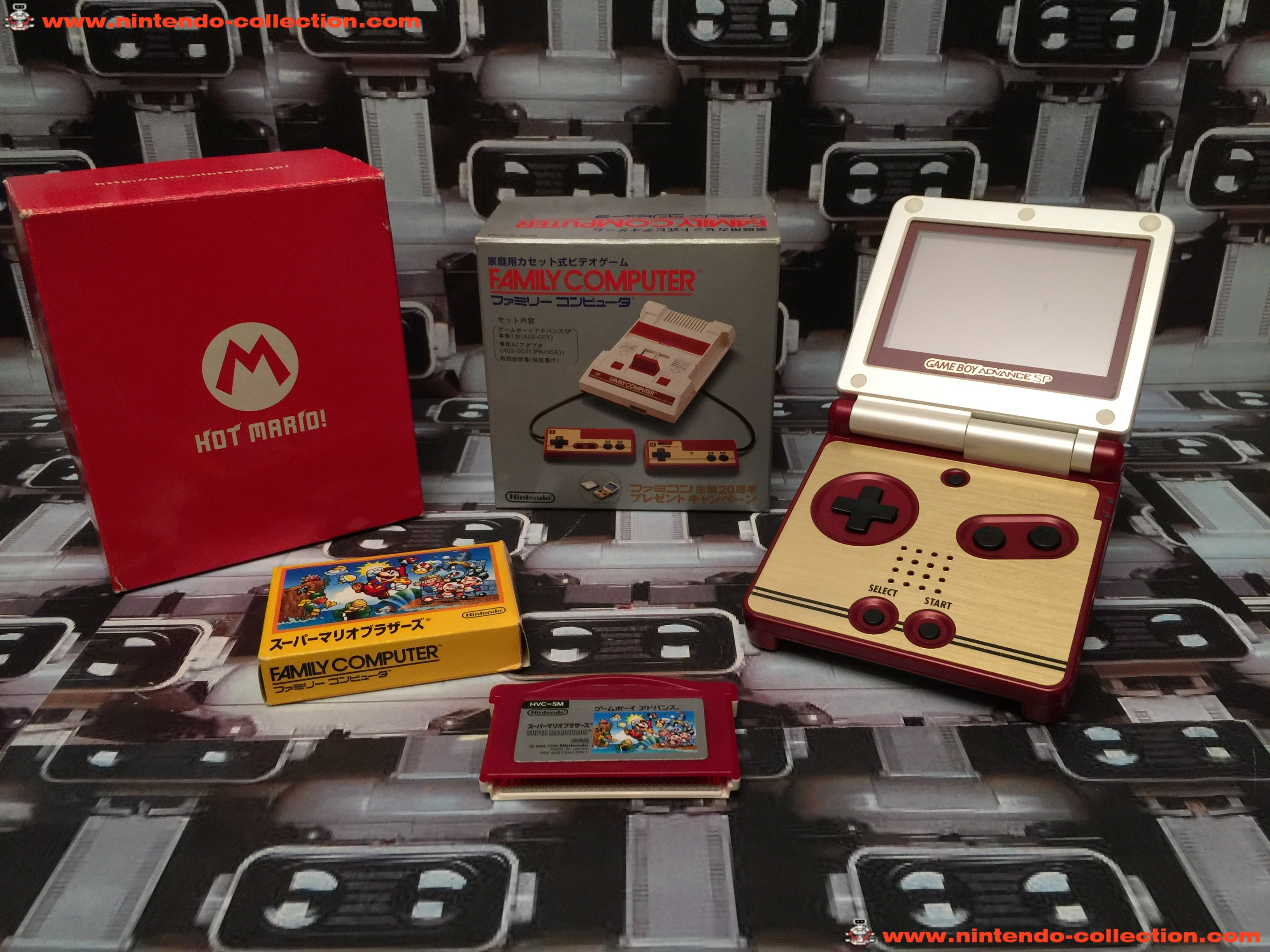 www.nintendo-collection.com - Gameboy Advance GBA SP Famicom 20th Anniversary Hot Mario Club Nintend