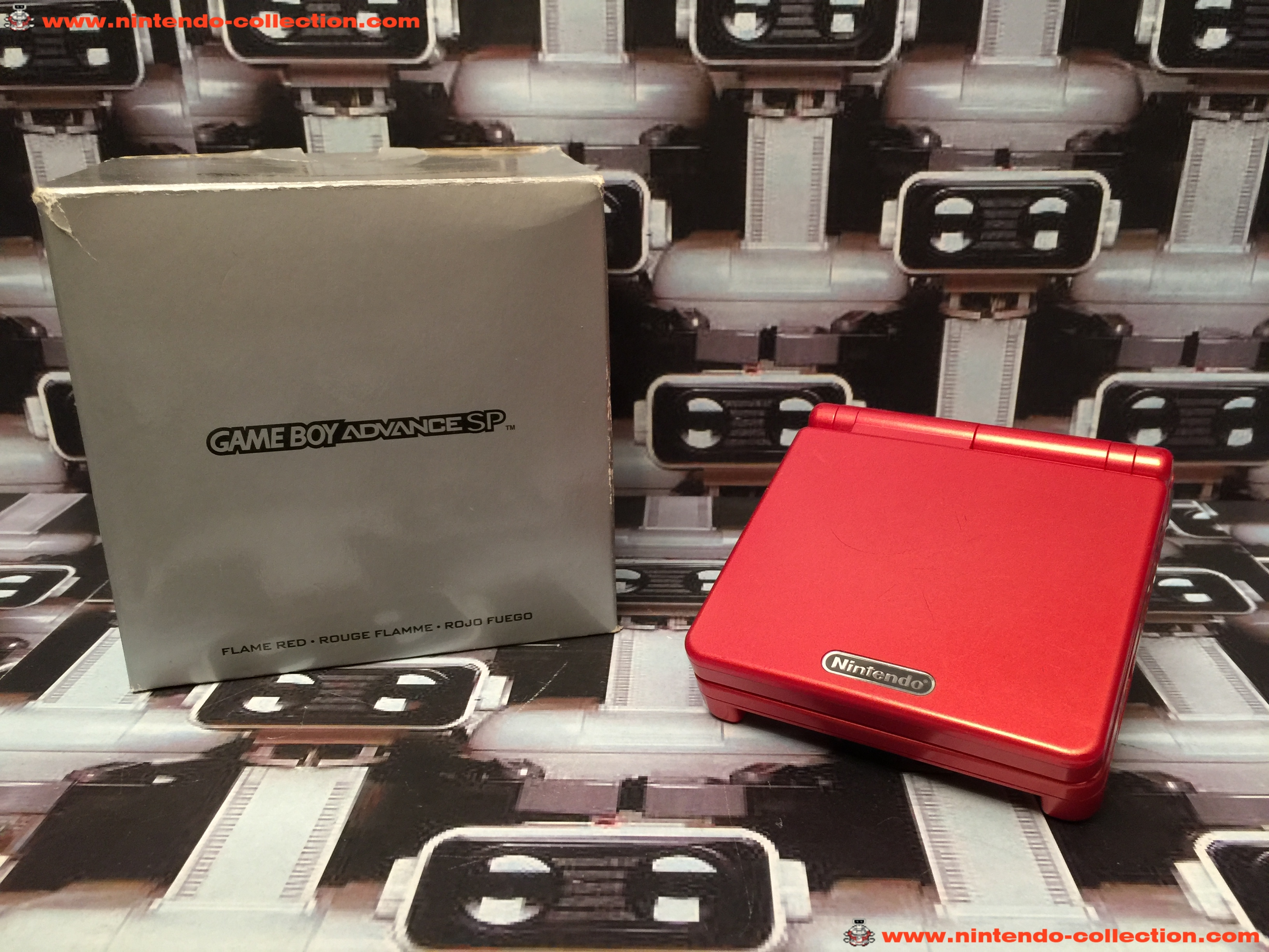 www.nintendo-collection.com - Gameboy Advance GBA SP Flame Red Rouge Flamme Edition europeenne europ
