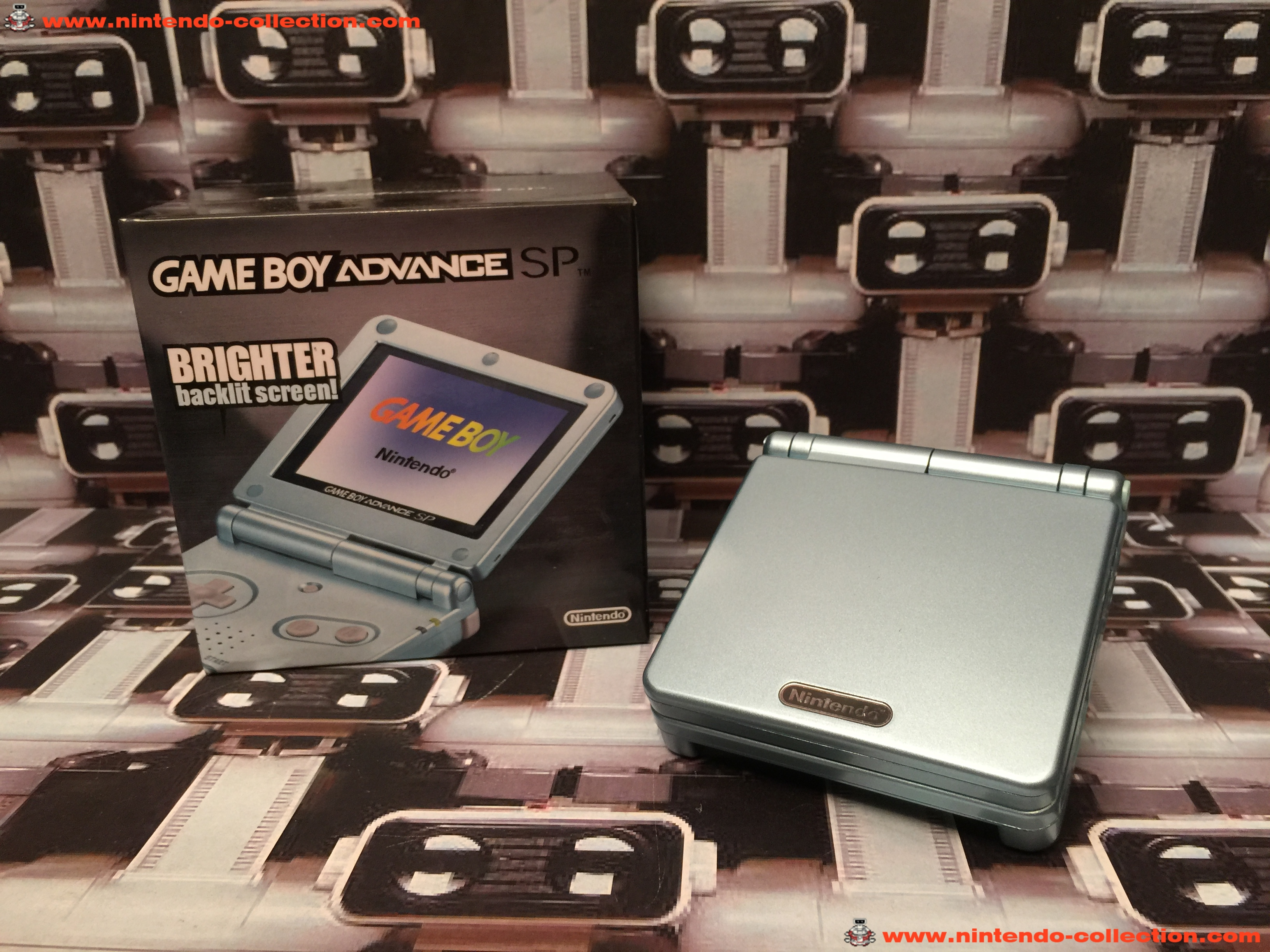 www.nintendo-collection.com - Gameboy Advance GBA SP Artic Blue Bleu Arctique edition Singapour Sing