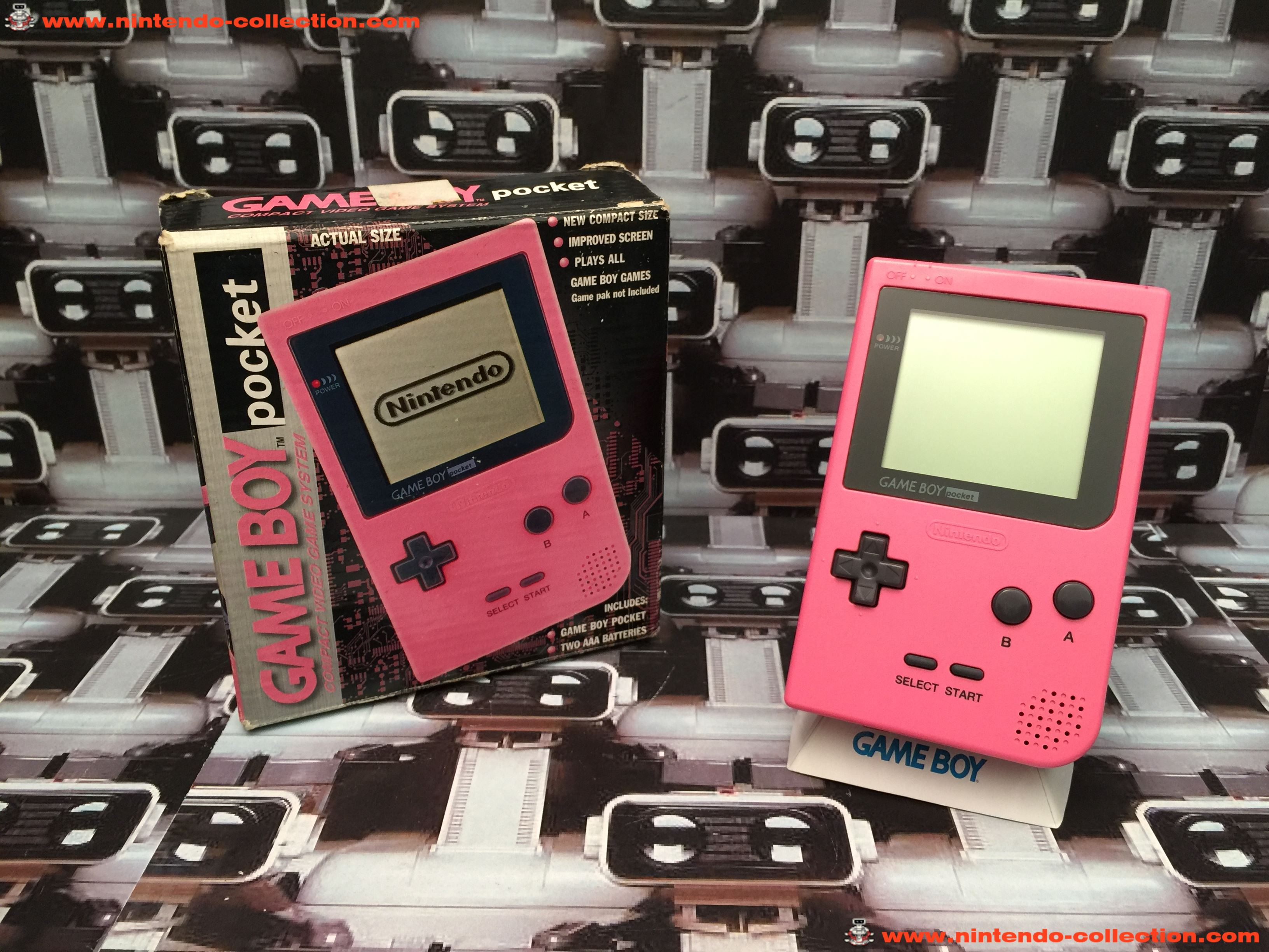 www.nintendo-collection.com - Gameboy GB Pocket Pink Rose en boite in box European Europe