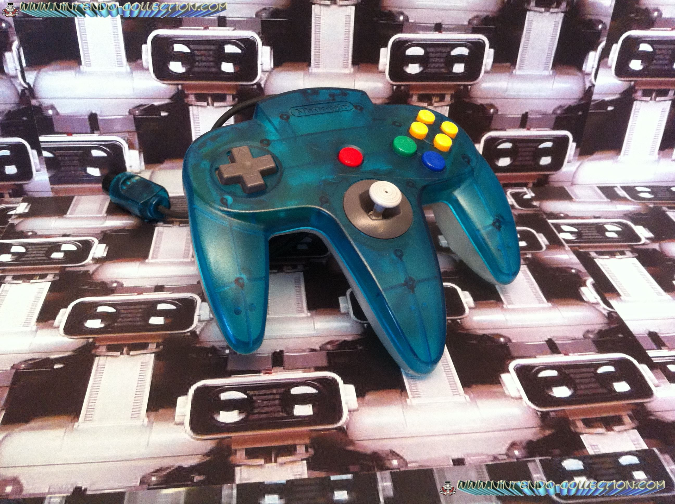 www.nintendo-collection.com  - Nintendo N64 Controller Clear Blue and clear white -  Manette Bleue t