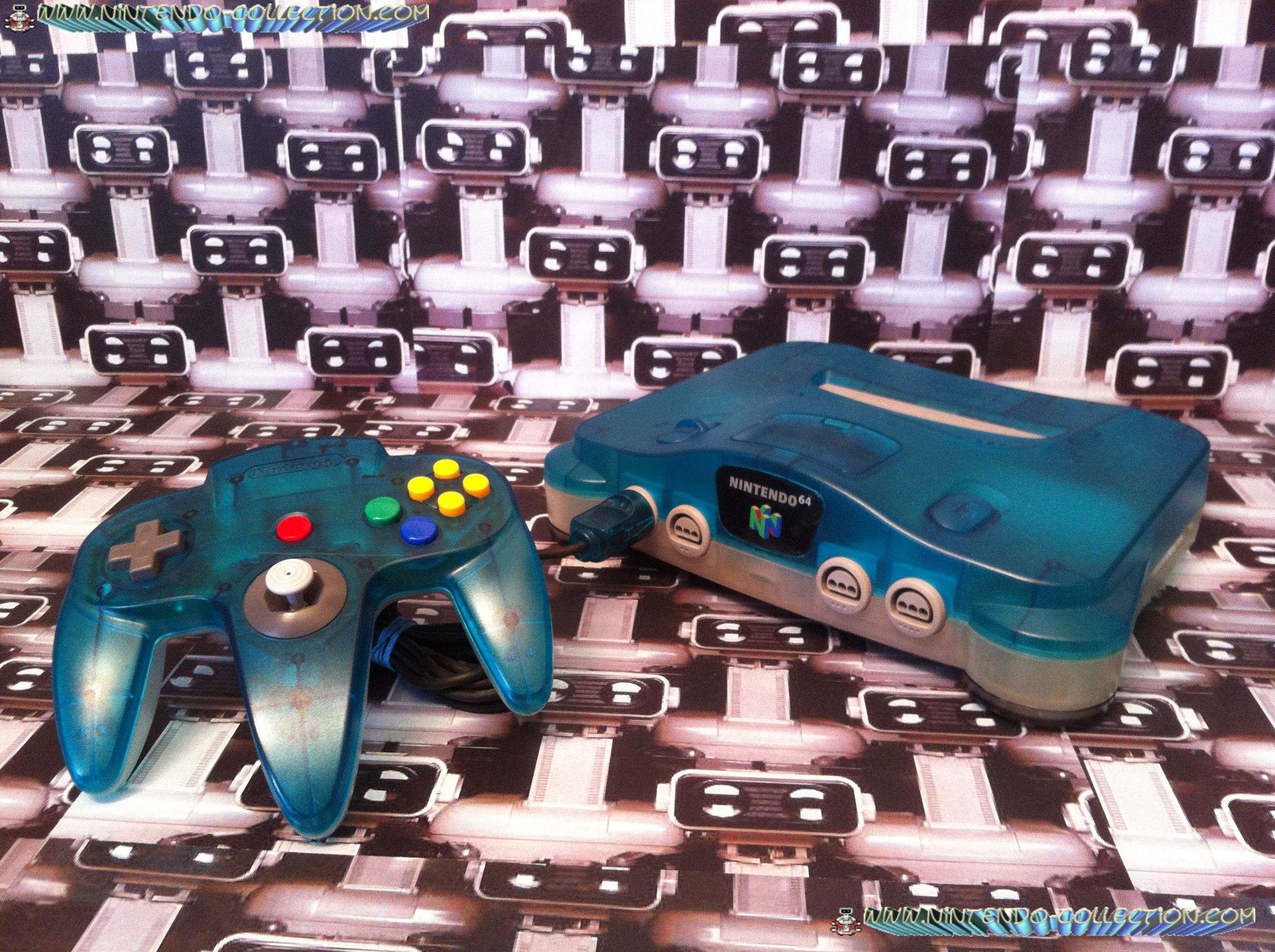 www.nintendo-collection.com - Nintendo 64 N64 Clear Blue and Clear White - Bleu transparente et blan