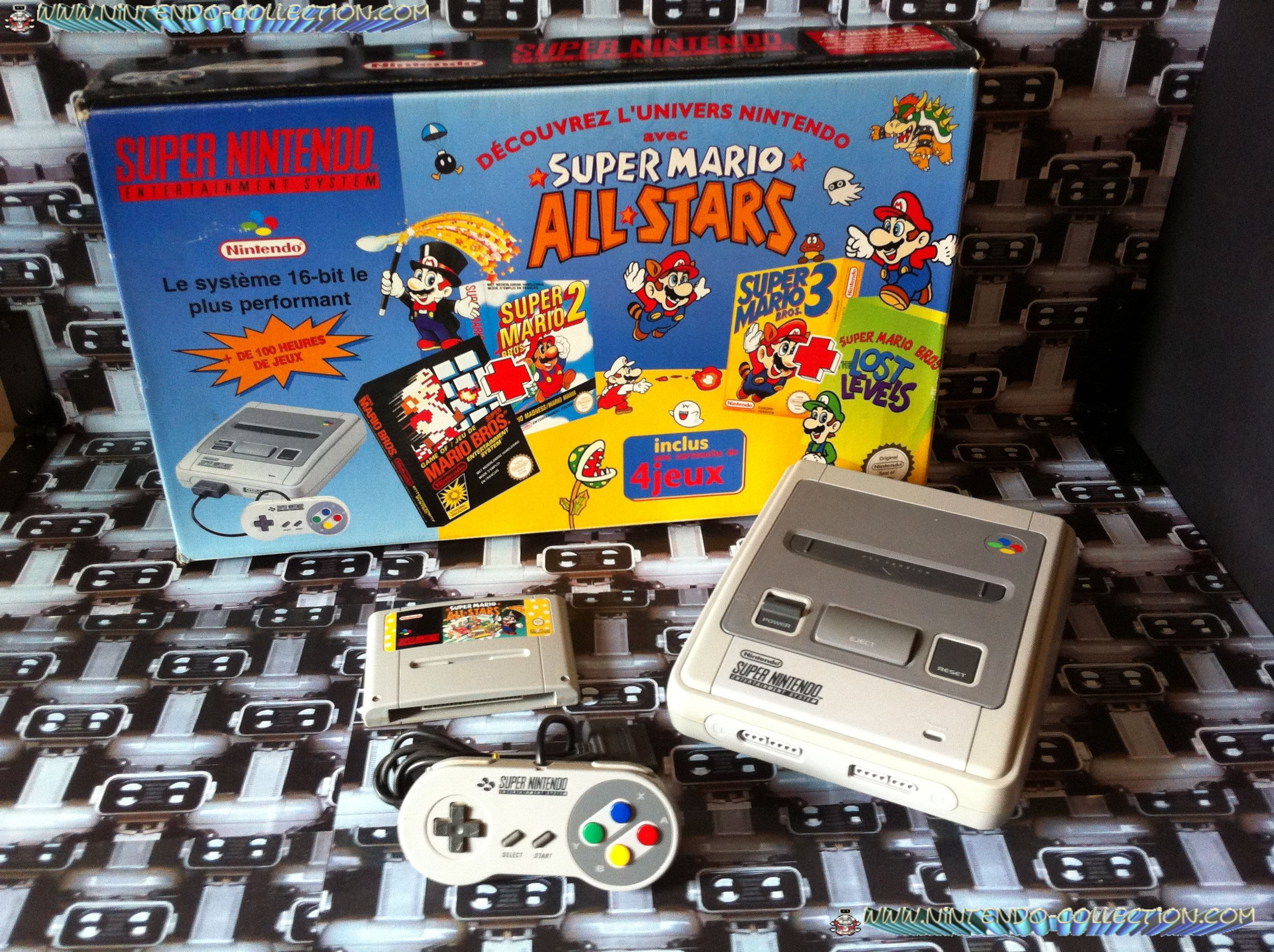 www.nintendo-collection.com - Super Nintendo Super Famicom Super Nes Pack Super Mario All Stars Bleu