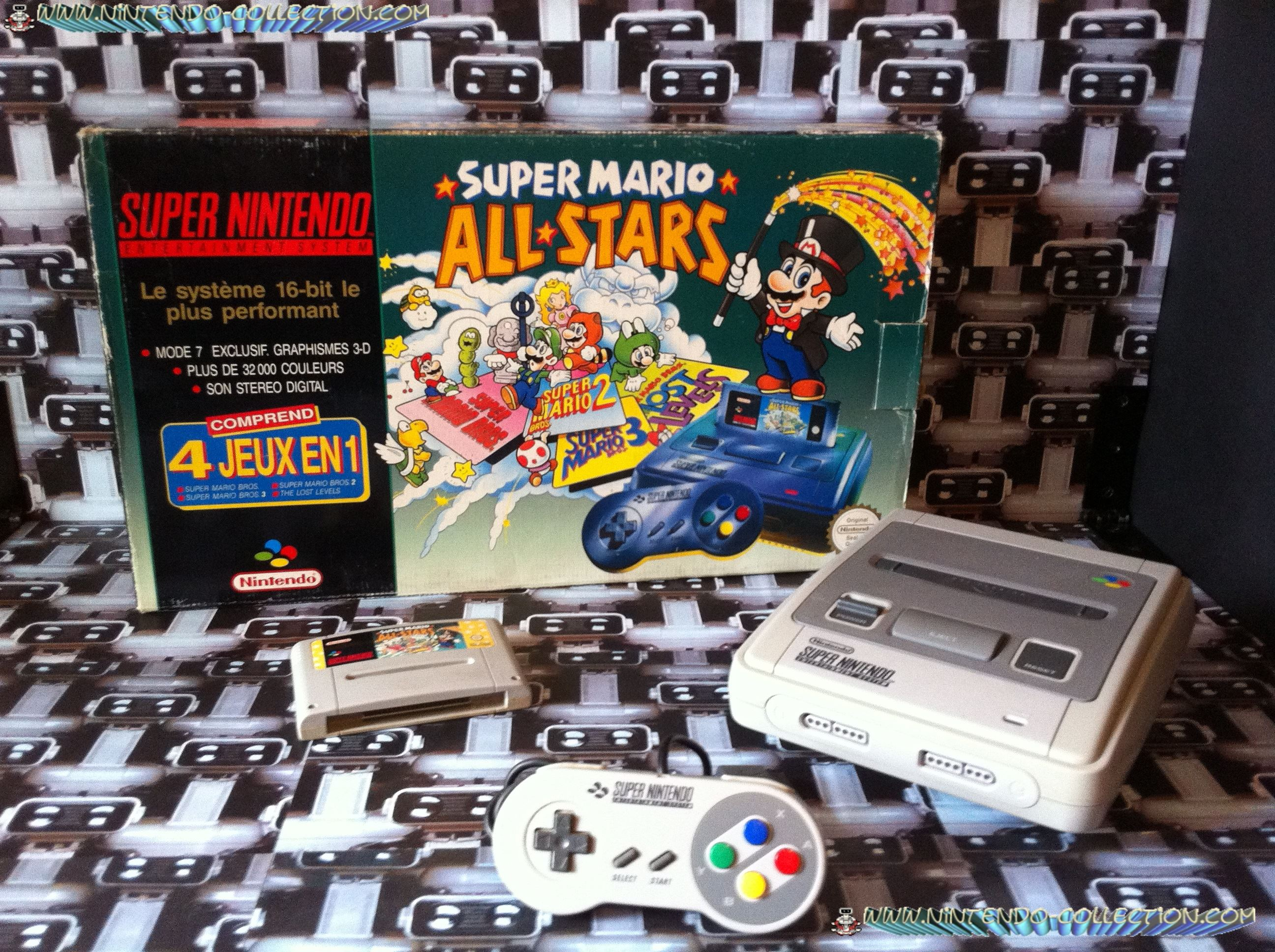 www.nintendo-collection.com - Super Nintendo Super Famicom Super Nes Pack Super Mario All Stars Vert